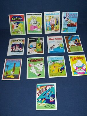 1974 Fleer Crazy Cover Sticker Lot 13 Stickers with Sheet Protector