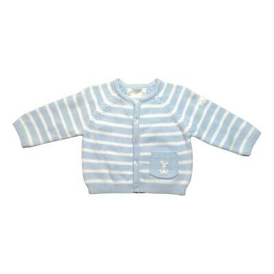 Max & Tilly Blue Striped Cardigan with Embroidered Bunny