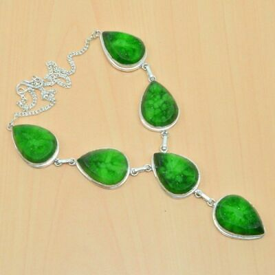 Wonderful 925 Silver Plated Green Titanium Druzy Long Necklace Jewelry kb561