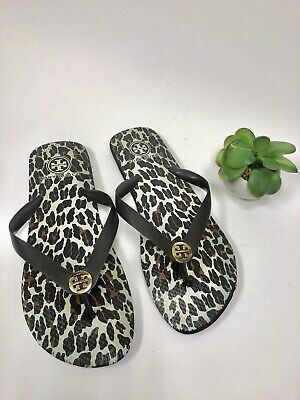 b96d53eb2a74 EUC Tory Burch Black Grey White Flip Flops size 9 Thick Rubber Sole Gold  Logos.