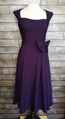 5c2a3621941b Lindy Bop Grace Swing Dress Size 10 1950's Style Purple dress with Front Bow
