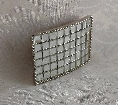 Rare Vintage Retro BELT BUCKLE Mirrored  -  Gorgeous - Silver Tone Metal