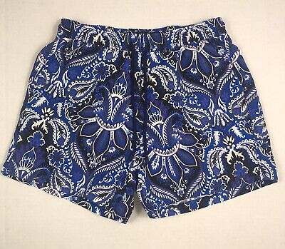 290d6a9ca13c Etro Milano Men's Large Lined Swim Shorts Blue & White Paisley All Over  Print