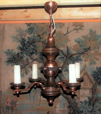 Vintage French Wood & Copper Chandelier (Farmhouse)