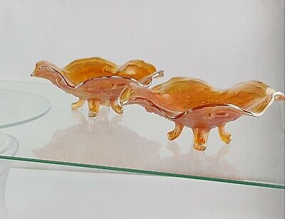 2 Vintage Carnival Glass 4 Legged Bowls/Dishes Thistle & Thorn Pattern Marigold