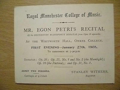 Concert 1908-Royal Manchester Collage of Music; by Egon Petri's Recital