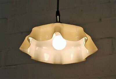 An Antique French Dusky Yellow Cased Glass Lampshade Ceiling Light