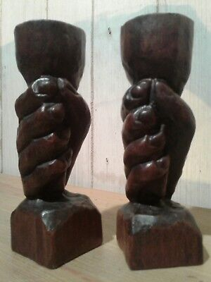 2 vintage carved wooden ' hand with torch ' candlesticks