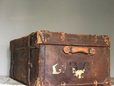 Antique Victorian Large Real  Leather Steamer Trunk Original Condition