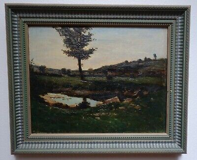Orig 19th Century Oil Painting on Canvas. Landscape with Rolling Hills and Pond