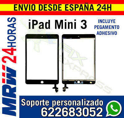 Pantalla Tactil para Ipad Mini 3 A1599 A1600 IC CHIP Negra + Flex Boton Home Neg