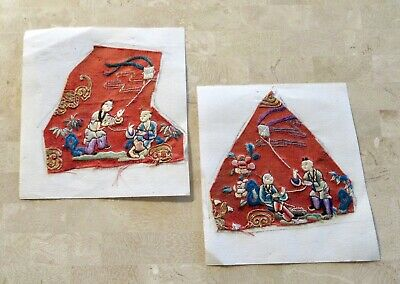 """(2 lot) SUPERB PAIR Antique Chinese EMBROIDERED SILK ROBE Remnants """"KITE FLYERS"""""""
