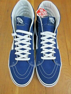 2aff9772da Vans Mens Sk8-Hi Estate Blue True White Canvas Suede Skate Shoes Size 10 NWT