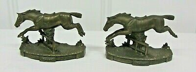 Rare Antique JB Horse Jumping Fence Equestrian Bronze Bookends Jennings Bros.