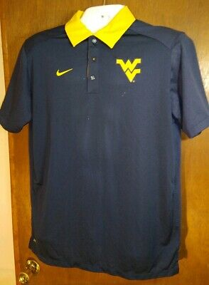 d717ef01 Nike Dri Fit WVU West Virginia Mountaineers Polo Shirt Men's Size Large