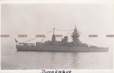 """French Navy Real Photo Postcard. """"Dunkerque"""" Battleship. Scuttled WW11. c 1938"""
