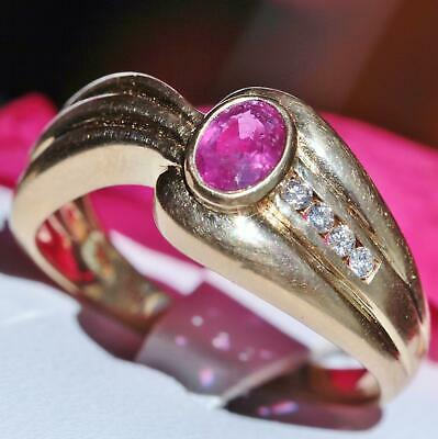 1920's Antique 18k yellow gold 0.50ct natural ruby diamond sz 8 swirl ring 5.2g