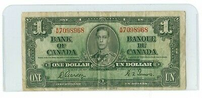 1937 CANADA $1.00 BC-21c GORDON TOWERS A/M Prefix