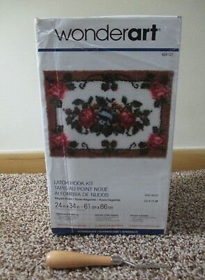WONDERART LATCH HOOK RUG KIT ELEGANT ROSES 24x34 NEW OPENED BONUS TOOL COMPLETE