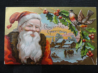 Christmas Antique PC - Santa Landscape Buildings Horse Birds Holly - Not Posted