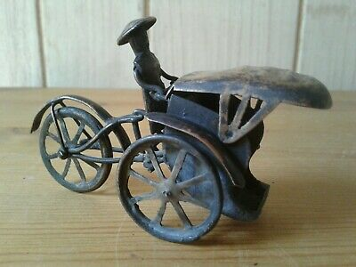 Antique Chinese white metal model trycycle rickshaw with rider