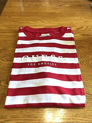 116aaaae Guess Jeans USA ASAP Rocky David Reactive Red White Striped Tee T Shirt  Medium