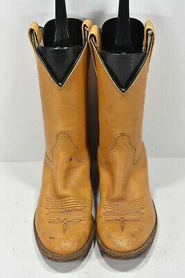 Vintage Adams Boot Company 7 Tan Soft Leather Round Toe Cowboy Boots Ropers