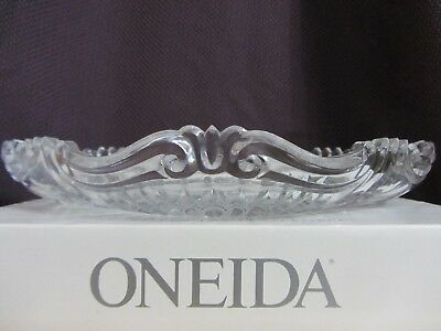"VTG NEW ONEIDA CRYSTAL Augustina Low Centerpiece Bowl 12"" Germany Discontinued"