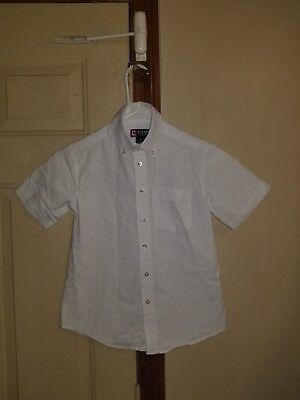 b3940636 Chaps Boys Youth Button Down Dress Shirt Size 8 White Short Sleeve