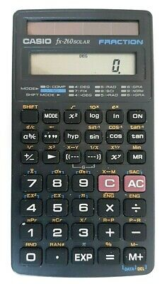Casio FX-260 Solar Fraction Scientific Calculator - Tested & Working - No cover