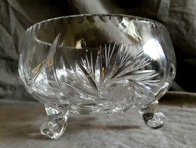 Deep Cut 3 footed ABP Pinwheel and Star clear glass crystal candy dish VTG