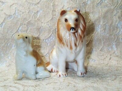 VINTAGE BONE CHINA Collie Dog Figurines--Dog Family--Excellent