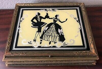 Antique 1930's Ornate Gold Carved Wood Trinket Box W/Mirror Victorian Man Woman