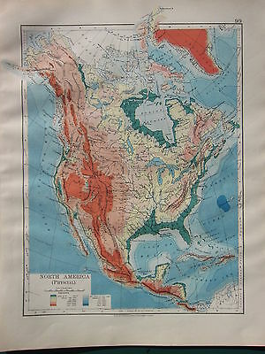 1900 Victorian Map ~ North America Land Heights Rocky Mountains Plateau