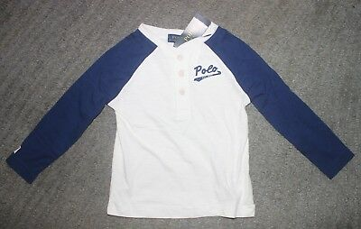 Polo Ralph Lauren Toddler Boys Navy & White Long Sleeve Shirt - Size 4T - NWT