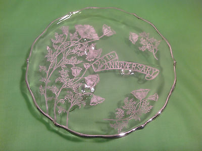 Antique Vintage Sterling Silver Floral Overlay 25th Anniversary Footed Platter
