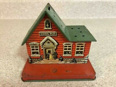 Vintage 1940's US Metal Toy Mfg Co Tin Litho PS23 School House Lollipop Bank