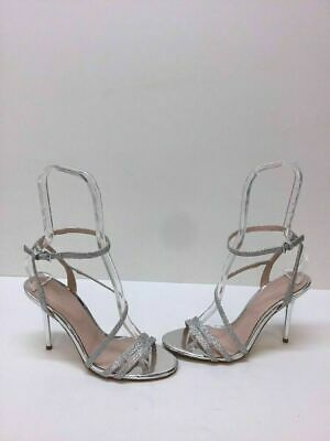 3ba4a31daf4 ALDO Silver Patent Leather Textile Strappy Ankle Strap Sandal Heels Women s  6.5