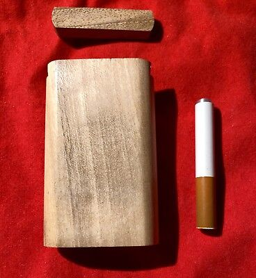 "Small 3"" Wood Walnut Slide Top Dugout With 2"" Cigarette One Hitter Pipe Bowl"