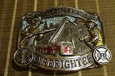Volunteer Firefighter 1986 The Great American Buckle Co Brass Belt Buckle