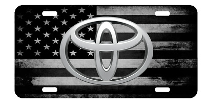 New TOYOTA US American Flag Tactical Black And White Vanity License Plate