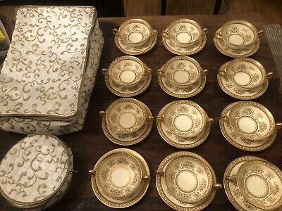 12 TIFFANY & Co MINTON China H4284 Raised Gold Encrusted White Bowls & Saucers.