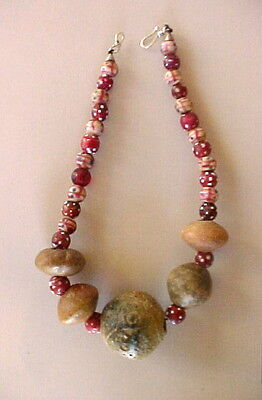 Ethnic Design Necklace/Pre-Columbian, Antique African Trade Beads
