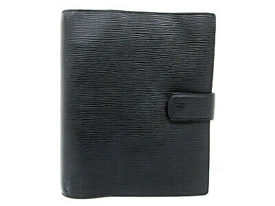 Auth Louis Vuitton Epi Agenda GM R20212 Day Planner Cover Black Good 65552
