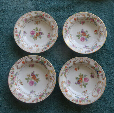 set of 4 Noritake China 4 Dresalda #4727 Rimmed Berry Bowl 5 5/8""