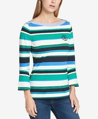 faced940 TOMMY HILFIGER $59 Womens New 0172 Blue Striped Boat Neck 3/4 Sleeve Top XL