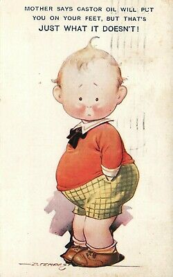 Castor Oil Kid Comics Funny Humor Postcard Used 1933
