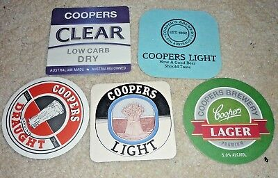 Collectable beer coasters: Set of 5 assorted Coopers beer coasters