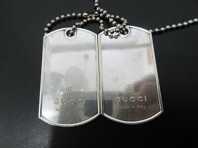 5c75db29d Auth Gucci Dog Tag Ball Chain Necklace 925 Sterling Silver Good 67432