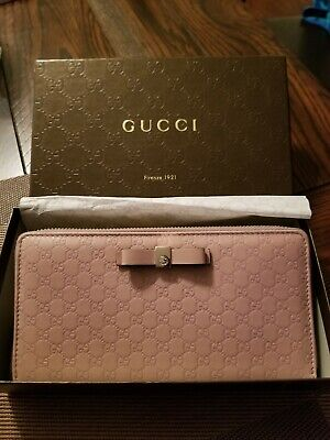 2ef57364d8d9 AUTHENTIC GUCCI WOMEN wallet (Soft Pink Leather Micro Guccissima Zip ...